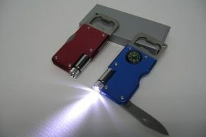 SK816 Bottle Opener with led Light, Knife and Compass