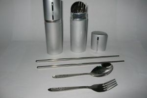 SK822 Stainless Steel Fork , Spoon, Chop Stick w/Aluminium Tube