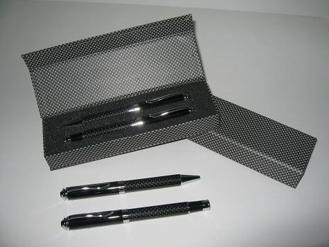 s14 carbon fiber ball roller pen set with box slevee. Black Bedroom Furniture Sets. Home Design Ideas